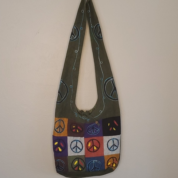 Rising International Peace Sign Boho Crossbody Bag